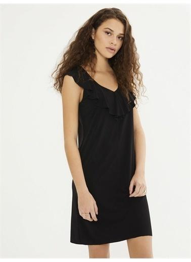 Xint XINT V Yaka Volanlı Yaka Kolsuz Mini Elbise Siyah